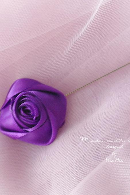 Flower Lapel Pin , Royal Purple Satin rose Men's Boutonniere , wedding Lapel pin, men suit pin , tie pin brooch accessories Groom