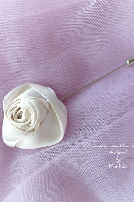 Flower Lapel Pin , Ivory Cream Satin rose Men's Boutonniere , wedding Lapel pin, men suit pin , tie pin brooch accessories Groom