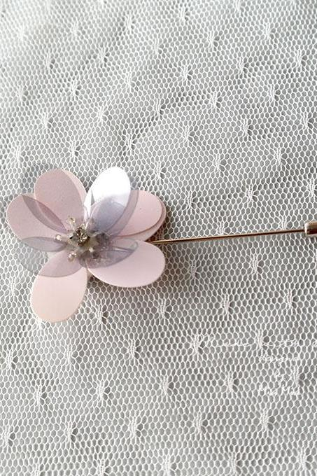 Flower Lapel Pin , Pink Grey Flower Men's Boutonniere , wedding Lapel pin, men suit pin , tie pin brooch accessories Groom
