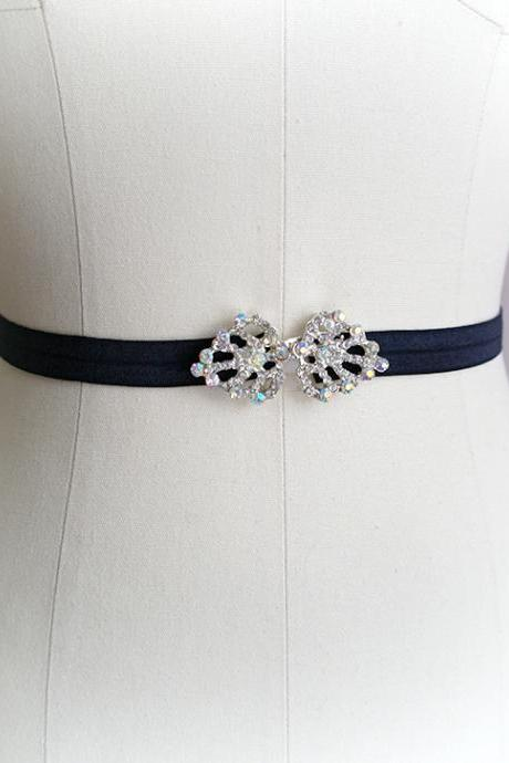 Rhinestone Crystal buckle Black shine Stretch Belt Skinny Sash Belt , wedding belt bridal sash dress belt