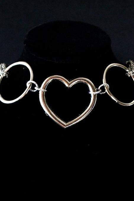 Necklace Choker Heart and Ring Witch Choker, goth gothic wicca Jewelry Jewel steampunk BDSM DDLG