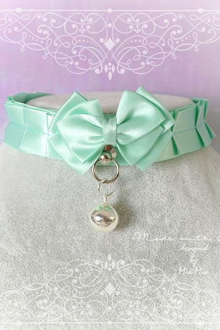 Kitten Pet Play Collar BDSM Choker Necklace Mint Green Satin O Ring Bow Bell kitty Jewelry pastel goth Lolita DDLG