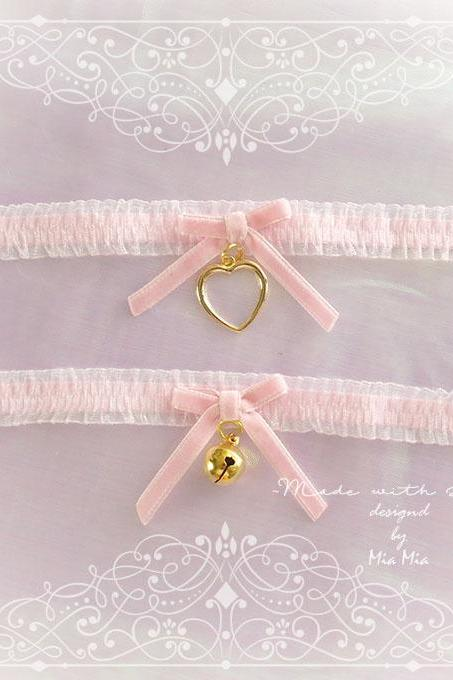 Kitten Pet Play Cat Collar Choker Necklace Baby Pink Lace Velvet Bow Gold Heart or Bell kitty pastel goth Lolita Neko BDSM DDLG