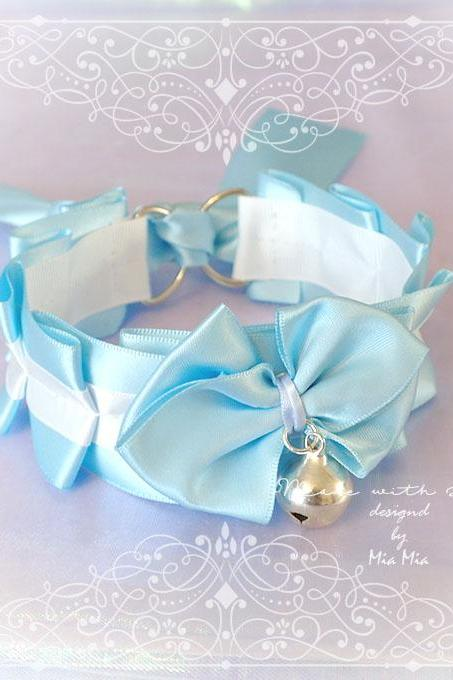 Kitten Pet Play Cat Collar Choker Necklace Baby Blue White Satin Bell Bow Kitty Cute pastel goth Lolita Neko BDSM DDLG Adult Baby