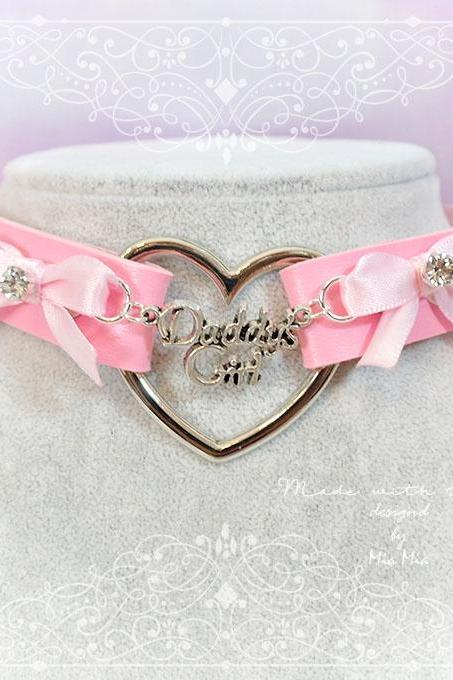 BDSM Daddys Girl Choker Necklace Pink Faux Leather Heart Bow Rhinestone Kitten Play Collar pastel goth Lolita Neko Cat DDLG