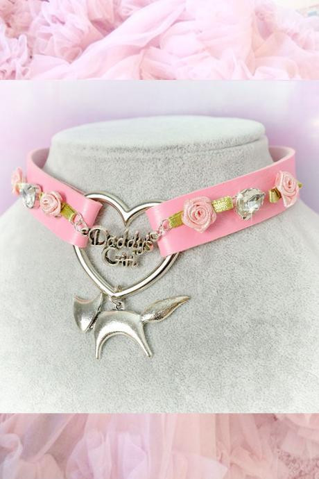 BDSM Daddys Girl Choker Necklace Pink Faux Leather Heart Rose Rhinestone Little Fox Kitten Play Collar pastel goth Lolita Neko Cat DDLG