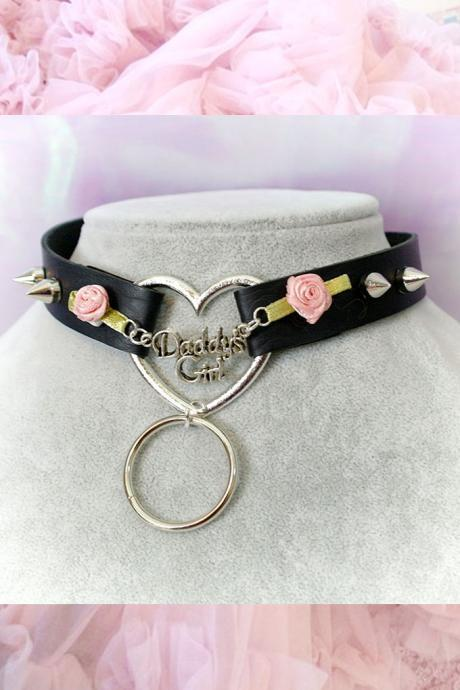 BDSM Daddys Girl Choker Necklace Black Faux Leather Heart O Ring Pink Rose Spikes Kitten Play Collar pastel goth Lolita Neko Cat DDLG