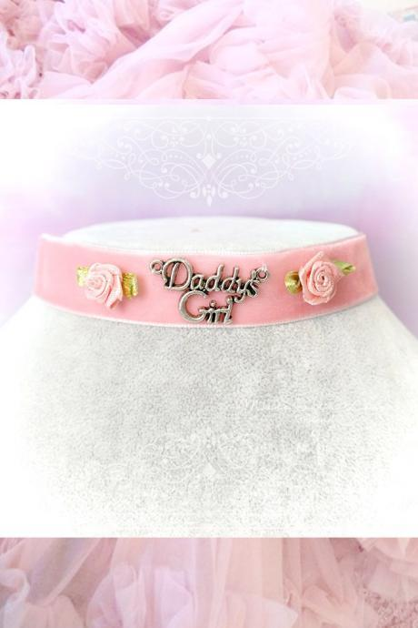 Kitten Play Collar Daddys Girl Choker Necklace Pink Velvet Rink Rose Flower pastel goth Lolita Neko DDLG Adult Baby