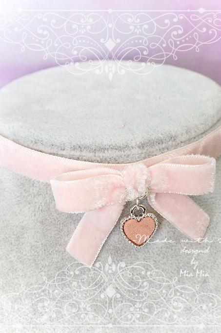 Kitten Play Collar Daddys Girl Choker Necklace Baby Pink Powder Pink Velvet Bow Heart pastel goth Lolita Kawaii Neko DDLG Adult Baby