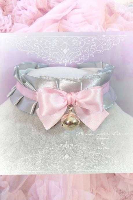 Kitten Play Collar , BDSM DDLG Choker Necklace Gray Baby pink Satin Ruffles Bow Bell Daddys Girl Jewelry pastel goth Lolita steampunk