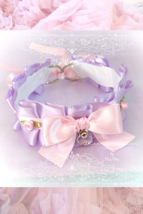 Kitten Pet Play Collar , BDSM DDLG Choker Necklace Lilac Purple Pink Ruffles Bow O Ring Mini Roses Daddys Girl Kawaii pastel goth Lolita