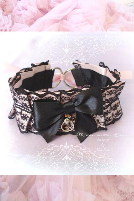 Kitten Pet Play Collar Choker Necklace Pink Black Lace Bow O Ring Sexy Cute pastel goth Lolita Neko Cat BDSM DDLG Daddys Girl Fairy Kei