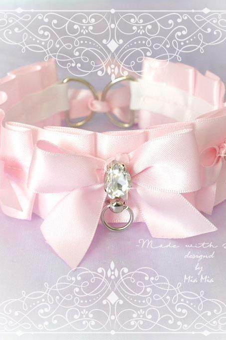 BDSM Kitten Play Collar Choker Necklace Baby Pink O Ring Three Bow Rhinestone Fairy Kei pastel goth Lolita Daddys Girl Neko DDLG Adult Baby