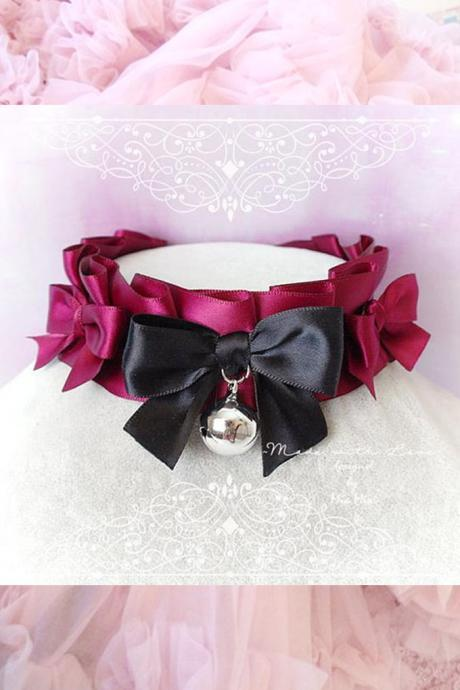 Choker Necklace ,Kitten Play Collar , DDLG Burgandy Red Black Satin Ruffles Little Bow Bell, Jewelry pastel goth Lolita BDSM Daddys Girl