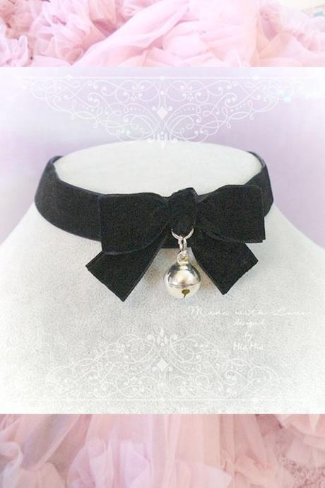 Choker Necklace black Velvet bow bell neko neck collar , pastel goth gothic cute steampunk Lolita jewelry