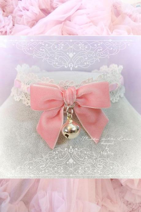 Kitten Play Collar Daddys Girl Choker Necklace Baby Pink Lace Velvet Bow Bell kitty pastel goth Lolita Neko Cat BDSM DDLG