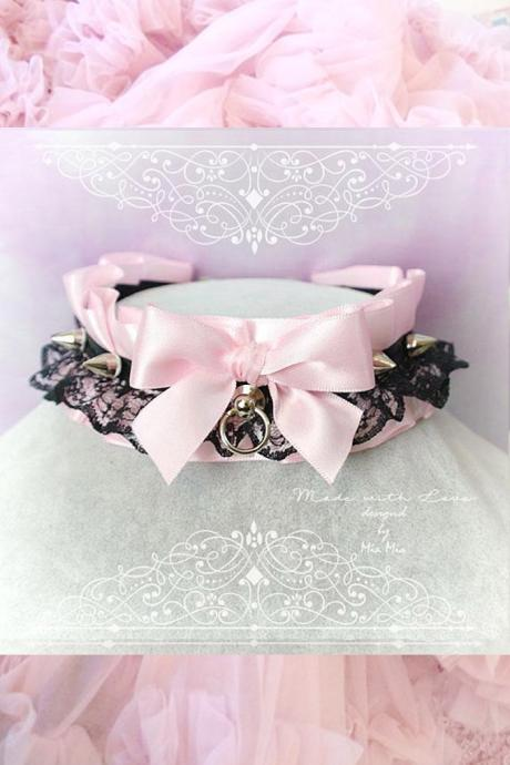 Kitten Pet Play Collar DDLG Choker Necklace Baby pink Black Lace Bow O Ring Spikes Jewelry pastel Lolita Daddys Girl BDSM Fairy Kei Cute