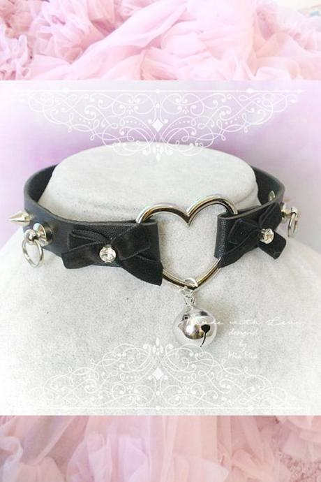 Choker Necklace , Black Faux Leather Heart O Ring Bell Velvet Bow Rhinestone Spikes ,Kitten Play Collar goth Punk Rock DDLG BDSM