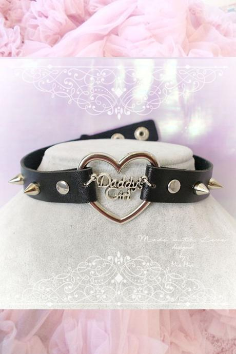 BDSM Daddys Girl Choker Necklace Black Faux Leather Heart Spikes Kitten Play Collar pastel goth Lolita Neko Cat DDLG