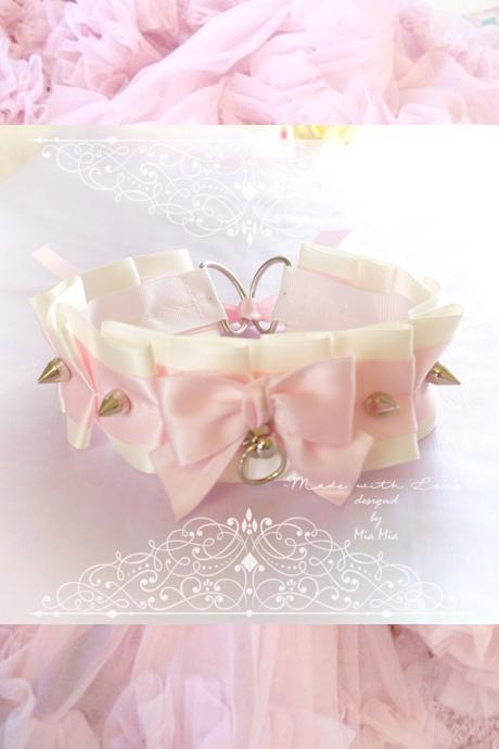 Choker Necklace ,Kitten Play Collar , Beige Pink Satin Bow O Ring Spikes ,Cute pastel Fairy Kei Lolita BDSM, DDLG Daddys Girl ,Adult Baby