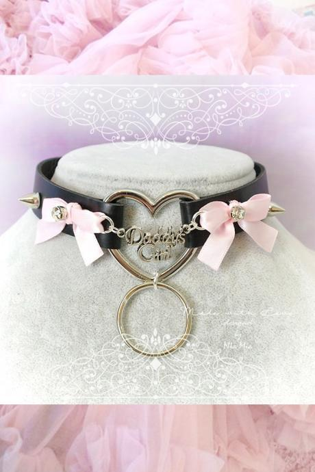 Choker Necklace ,BDSM Daddys Girl Black Faux Leather Heart Spikes Pink Bow O Ring Kitten Play Collar pastel goth Lolita DDLG