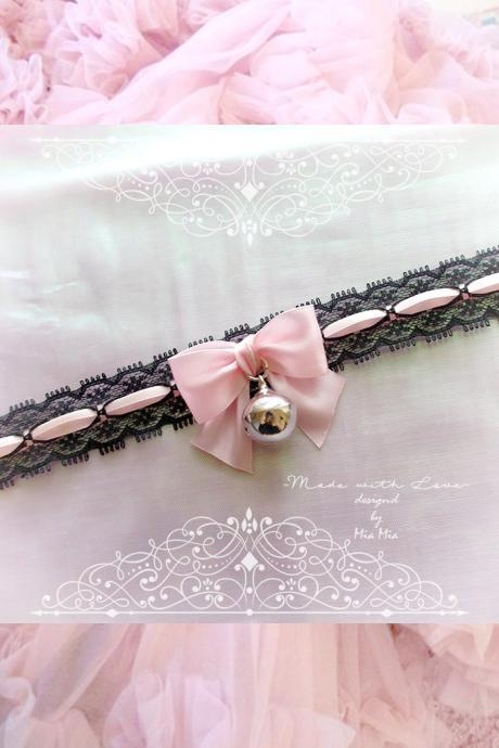 Choker Necklace , Kitten Play Collar, Black Lace Baby Pink Bow Bell , pastel Lolita Jewelry Fairy Kei Jewelry DDLG