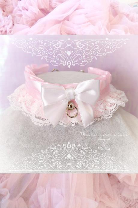 Kitten Pet Play Collar DDLG Choker Necklace White Baby pink White Lace Bow O Ring ,Daddys Girl Jewelry ,pastel Lolita ,Fairy Kei, BDSM