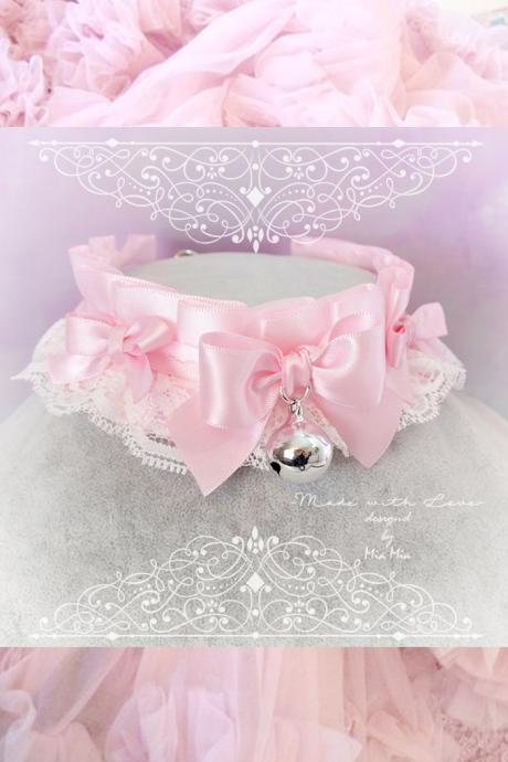 Kitten Pet Play Collar DDLG Choker Necklace White Baby pink White Lace Liittle Bow Bell ,Daddys Girl Jewelry ,pastel Lolita ,Fairy Kei, BDSM