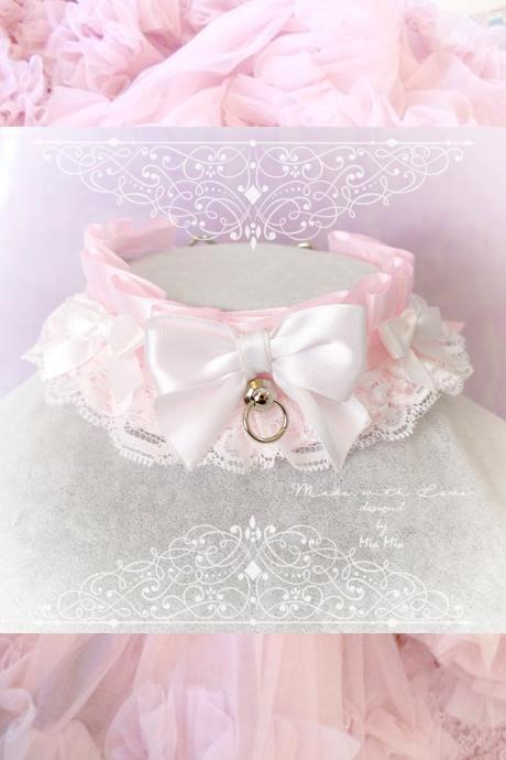 Kitten Play Collar, DDLG Choker Necklace White Baby pink White Lace Little Bow O Ring ,Daddys Girl Jewelry ,pastel Lolita Rule Play