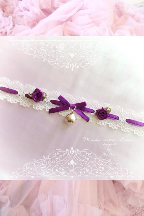 Choker Necklace I ,Kitten Play Collar Ivory Lace Purple Violet Bow Bell Rose , pastel Lolita Jewelry Fairy Kei Jewelry DDLG Daddys Girl