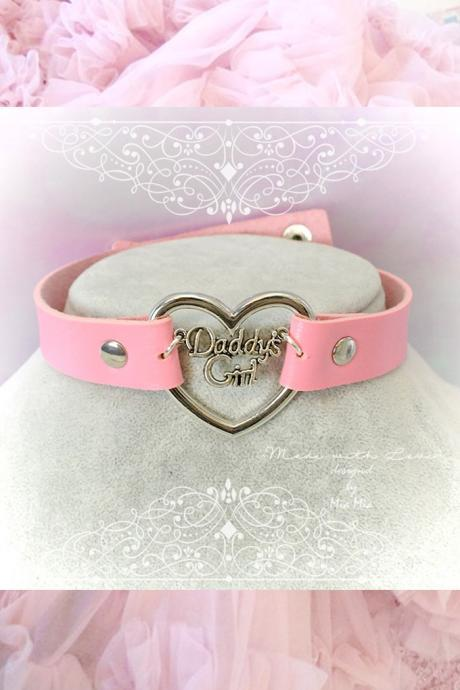 Choker Necklace ,BDSM Daddys Girl Pink Faux Leather Heart , Kitten Play Collar pastel goth Lolita Neko DDLG Jewelry Cute
