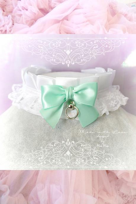 Choker Necklace ,Kitten Play Collar , White Satin Lace Mint Green Bow O Ring , Lolita Gothic, BDSM DDLG Daddys Girl Fairy Kei Lolita Jewelry