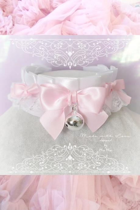 Choker Necklace ,Kitten Play Collar , White Satin Lace Pink Bow Bell, Lolita Gothic, BDSM DDLG Daddys Girl Fairy Kei Lolita Jewelry