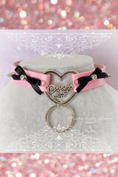 BDSM Daddys Girl Choker Necklace Pink Faux Leather Heart Bow Rhinestone Spikes O Ring Kitten Play Collar pastel goth Lolita DDLG