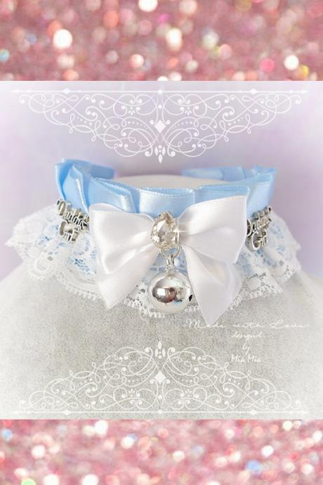 Choker Necklace ,Kitten Pet Play Collar DDLG Daddys Girl Baby Blue White Lace Rhinestone Bow Bell ,Jewelry ,pastel Lolita ,Fairy Kei, BDSM