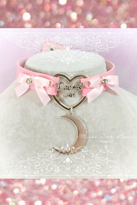 Choker Necklace ,BDSM Daddys Girl Pink Faux Leather Heart Pink Bow Rhinestone Moon Kitten Play Collar pastel goth Lolita Neko DDLG