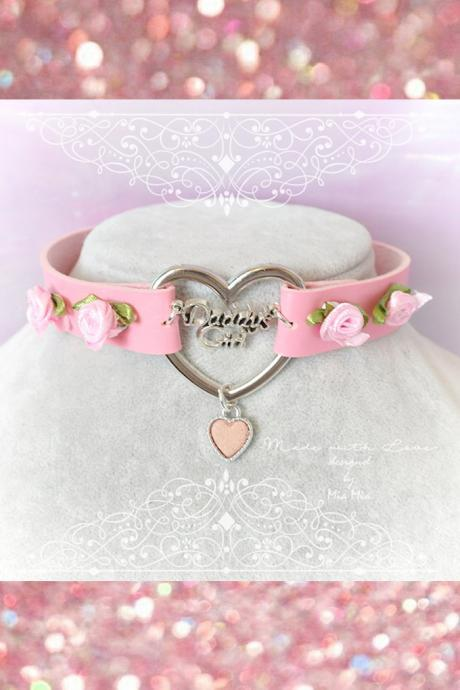 Choker Necklace ,Kitten Play Collar Pink Faux Leather Daddys Girl Pink Heart Mini Roses , BDSM DDLG Kitty play Collar Lolita Kawaii Cute