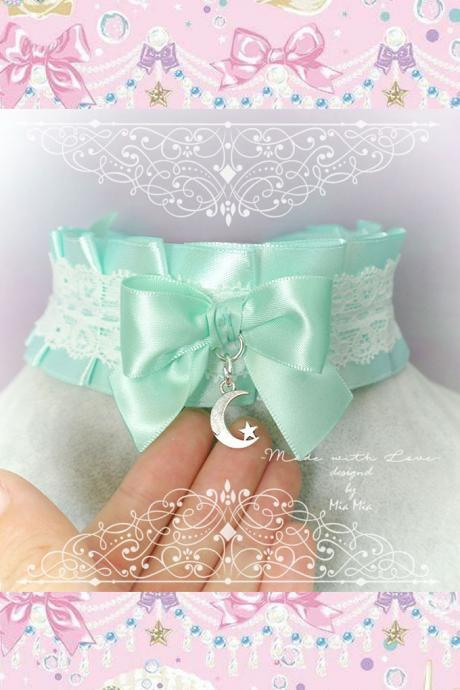 Moon Star Choker Necklace ,Kitten Pet Play Collar , BDSM DDLG Mint Green Satin White Lace Ruffles Bow ,Daddys Girl Kawaii pastel Fairy Kei