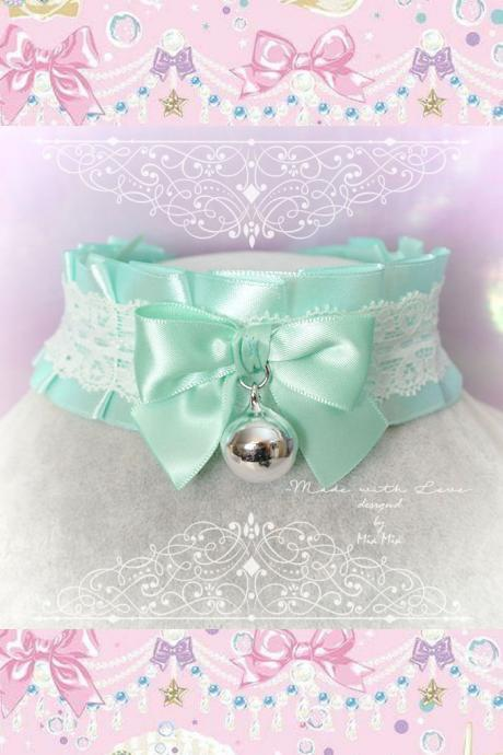 Choker Necklace ,Kitten Pet Play Collar , BDSM DDLG Mint Green Satin White Lace Ruffles Bow Bell ,Daddys Girl Kawaii pastel Fairy Kei