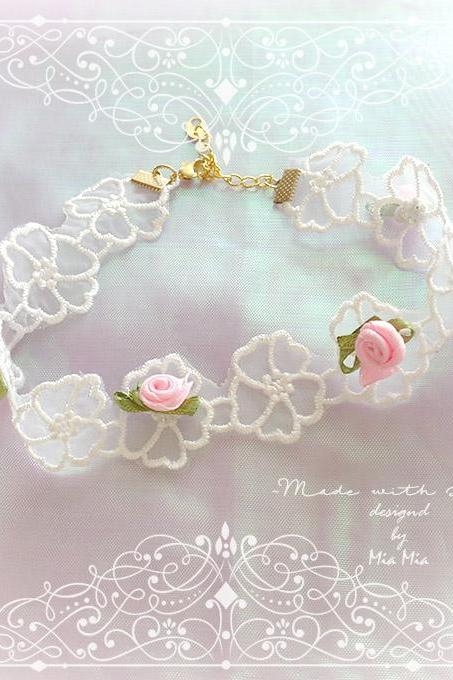 Lace Choker Necklace ,Romantic White Sheer Flower Lace Flower Pink Mini Rose , pastel Lolita Neko Daddys Baby Girl Jewelry DDLG Cute Kawaii
