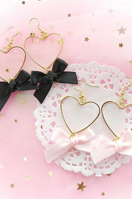 Black White Bow Glitter Crown Earrings , chandelier dangle ,Lolita Cute Kawaii Sweet DDLG Daddys Baby Girl Fairy Kei Jewelry