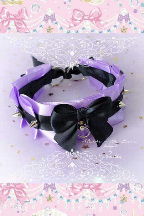 Choker Necklace ,Kitten Pet Play Collar Tug Proof , Light Purple Black Bow O Ring Spikes , Neko BDSM DDLG Daddys Girl Fairy Kei Jewelry