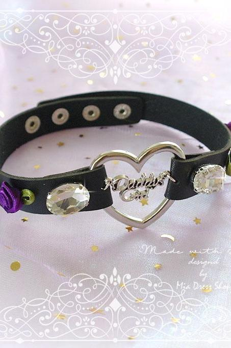 BDSM Daddys Girl Choker Necklace Collar Black Faux Leather Heart Rhinestone Purple Rose Flower Kitten Play Collar pastel goth Lolita DDLG