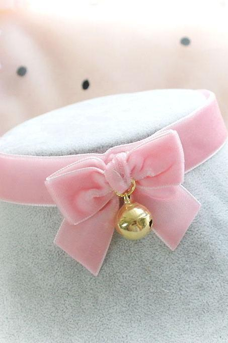 Choker Necklace ,Kitten Play Collar, Pink Velvet Bow Gold Bell , pastel goth Lolita Neko DDLG Adult Baby Daddys Girl