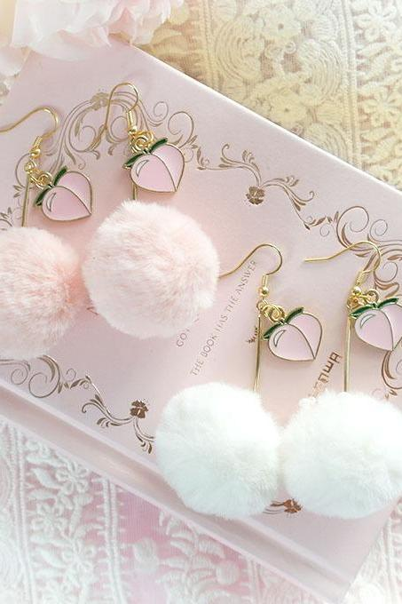 JUST PEACHY Cute Peach Heart Pom Pom Faux Fur Dangle Earrings ,Clip On, Lolita Cute Kawaii Sweet DDLG Daddys Baby Girl Fairy Kei Jewelry