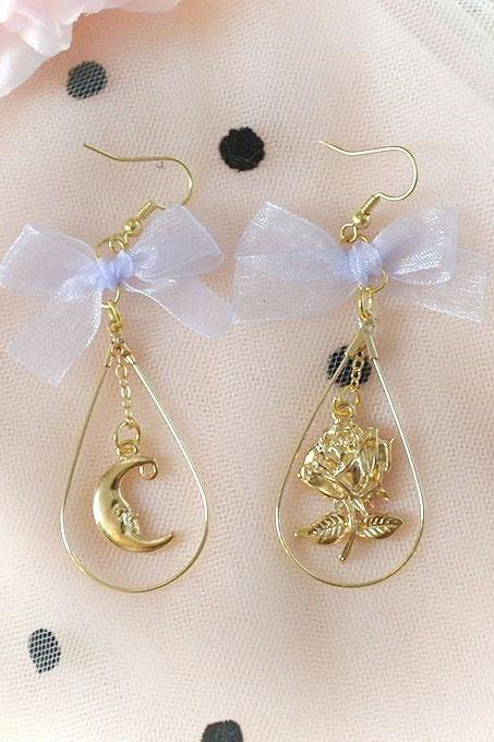 Rococo Gold Rose And Moon Light Purple Bow Waterdrop,Dangle Earrings ,Clip On No Pierce Earrings, Lolita Cute Kawaii Sweet Baby Girl Jewelry