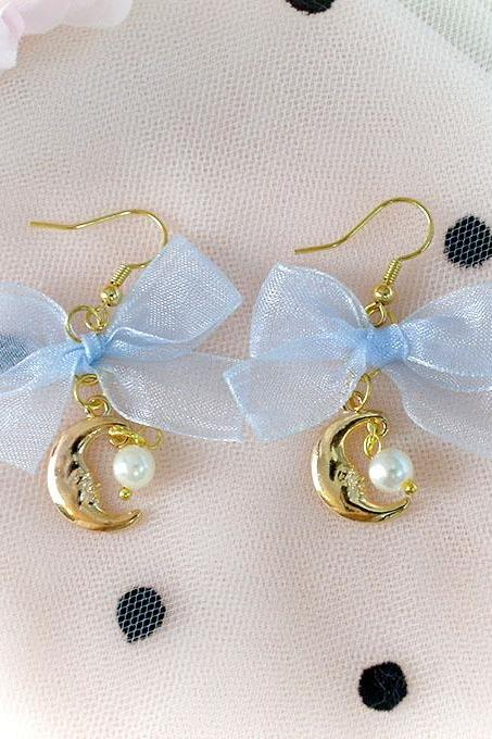 Romantic Light Blue Bow Moon Faux Pearl Dangle Earrings ,Clip On No Pierce Earrings, Lolita Cute Kawaii Sweet Baby Girl Jewelry