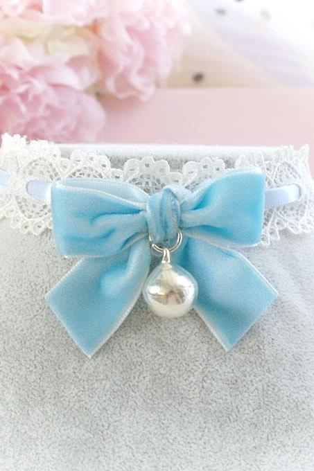 Choker Necklace,Kitten Play Collar ,Baby Blue Lace Velvet Bow Bell ,pastel goth Lolita Neko BDSM DDLG Daddys Baby Girl
