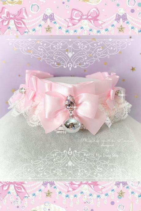 Choker Necklace ,Kitten Pet Play Collar, DDLG Baby pink White Lace Bow Bell Luxury Rhinestones ,Daddys Girl Jewelry pastel Lolita BDSM