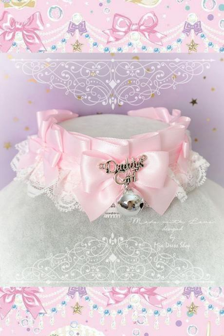 Choker Necklace ,Kitten Pet Play Collar, DDLG Baby pink White Lace Bow Bell ,Daddys Girl Jewelry pastel Lolita BDSM Little Littles